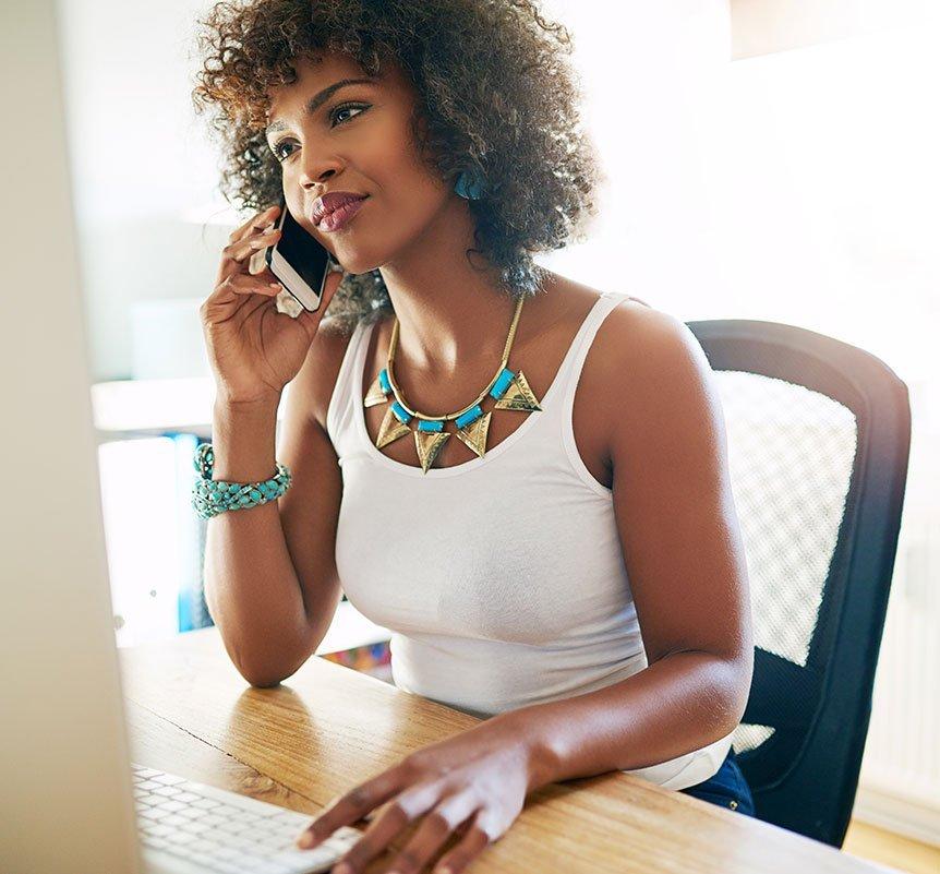 Black Woman on Phone